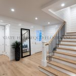 "Client: Abel & Helou Custom HomesLocation: Lido Island, NBProject Size: 2500 s/f & stairsSub Straight: ¾"" plywood / gluedWood Description: Engineered ¾"" x 8"" light rustic euro oak 2'-10'Wood Finish: Bona natural seal, Bona Traffic mat"